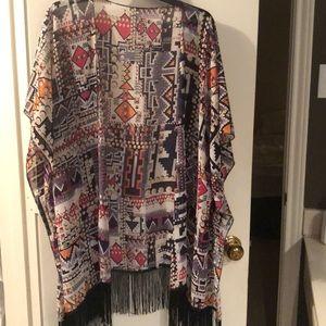 Tops - Colorful Fringed Kimono-one size